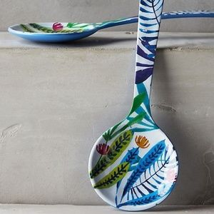 Tropical Flowers Melamine Serving Set Salad Tongs